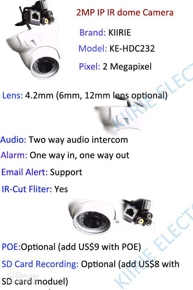 HD IP camera, 2MP IP Cam 1600*1200, IR distance 25M, Email alarm, Поддерживается Onvif, With IR-Cut fliter, HDC232, hd ip camera